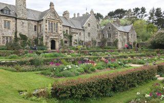 Garden and house Cotehele Cornwall tulips